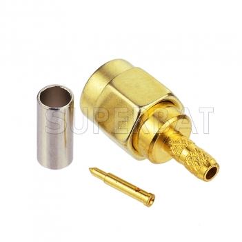 Superbat DC-6GHz SMA Male RF Connector Crimp Attachment for RG174 RG316 Gold Plated