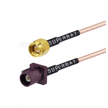 FAKRA D purple plug to SMA male RG316 pigtail cable