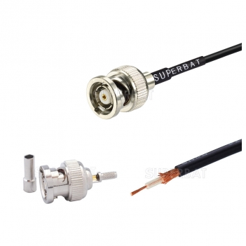 RP-BNC straight jack custom coaxial cable assembly for RG-174