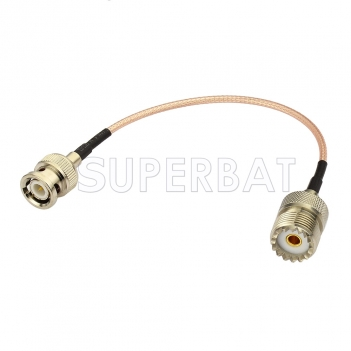RF coaxial coax BNC Male to UHF Female SO239 Connector Pigtail Jumper RG316 Extension Cable Ham Radio Antenna Adapter Cable Assembly