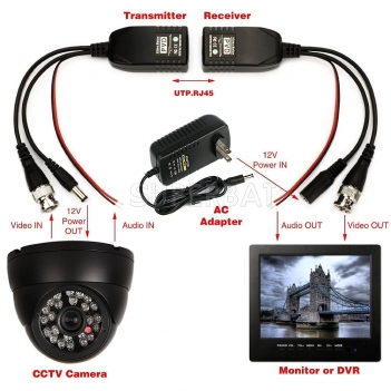 BNC to RJ45 CAT5 Video +Data +Power Balun Connector for CCTV PTZ Camera 1 Pairs