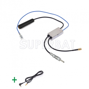 DAB Car radio receiver FM/AM to DAB/FM/AM aerial/antenna Amplifier/converter/splitter With 2.5mm connector Aerial adaptor cable
