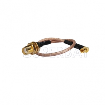 Custom RF cable assembly MMCX Jack Right Angle to SMA Jack bulkhead straight pigtail Cable RG316