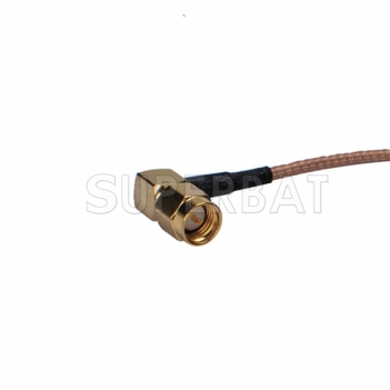 BNC female bulkhead with O-ring straight to SMA male right angle Pigtail cable RG316
