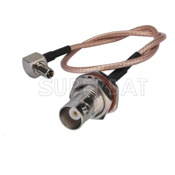 Pigtail cable TS9 Male RA to BNC female bulkhead O-ring RG316