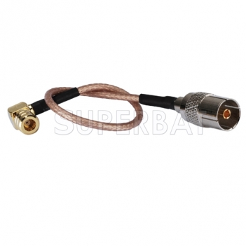 SMB male RA to TV female straight pigtail Cable RG316