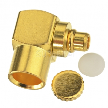 "MMCX Male Plug Right Angle Solder Connector Adapter for Semi-Rigid RG402 0.141"" Cable RF Connector"