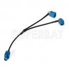 GPS antenna Extension cable Fakra Waterblue male plug to Y type 2x Fakra SMB female RG174 Telematics or Navigati